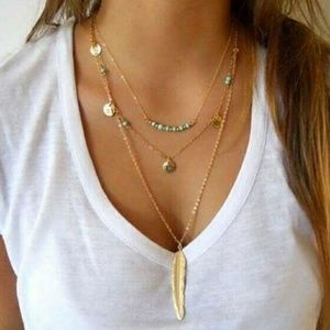 Turquoise Golden Feather Multi Layer Necklace